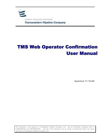 TMS Web Operator Confirmation User Manual