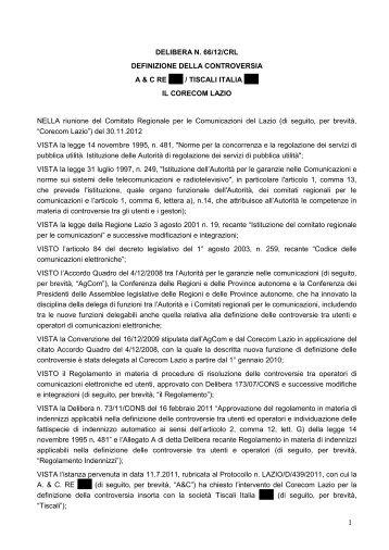 Delibera 66/12/CRL - Corecom Lazio