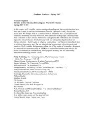 Graduate Seminars – Spring 2007 Frances ... - English Department