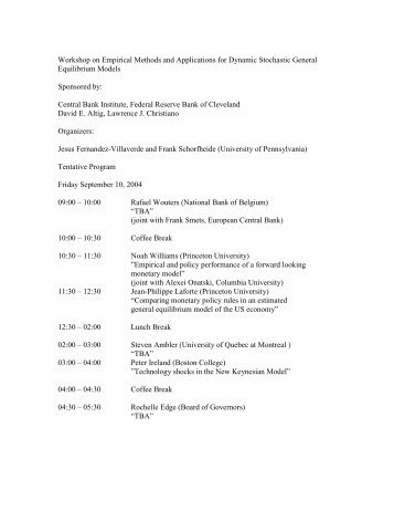 Workshop on Empirical Methods and Applications for Dynamic ...
