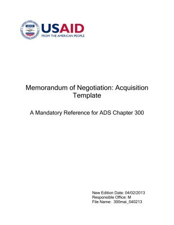 Competitive Range Determination Template Usaid