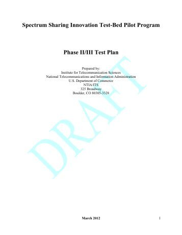 Phase II III Test Plan (pdf) - National Telecommunications and ...