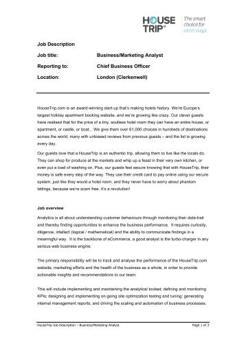 Job Title Senior Marketing Analyst  Business Development