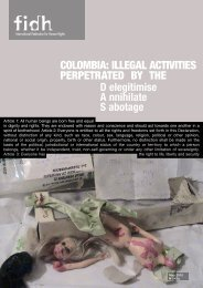 CoLoMbIA: ILLEGAL ACtIVItIES PERPEtRAtED bY tHE - FIDH