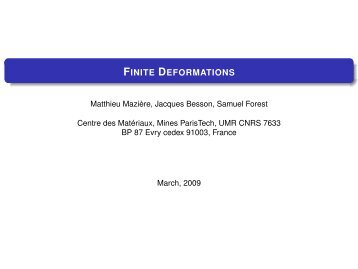 Finite Deformations - MINES ParisTech