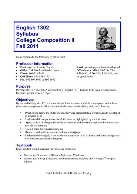 English 1302 Syllabus College Composition Ii Fall 2011