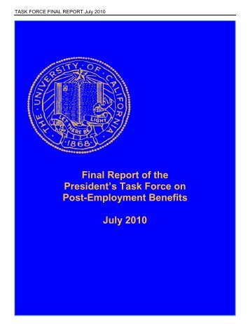 Final Report of the President's Task Force on Post-Employment ...