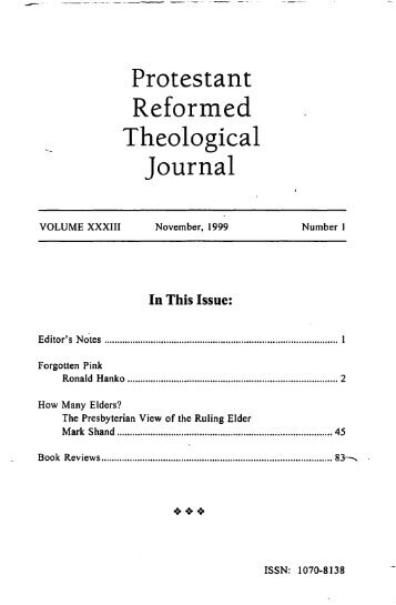 Theological Journal - Protestant Reformed Churches in America
