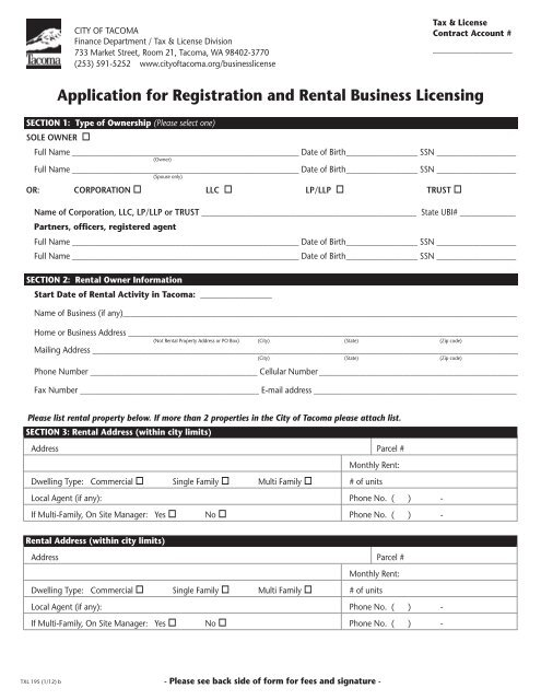 Application for Registration and Rental Business     - City