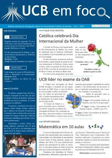 UCB líder no exame da OAB Matemática em 10 aulas Católica ...