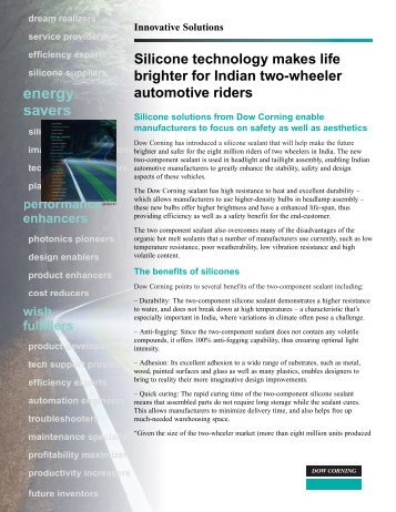 Silicone technology makes life brighter for Indian two ... - Dow Corning