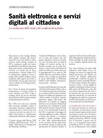 Sanità elettronica e servizi digitali al cittadino - bep business e ...