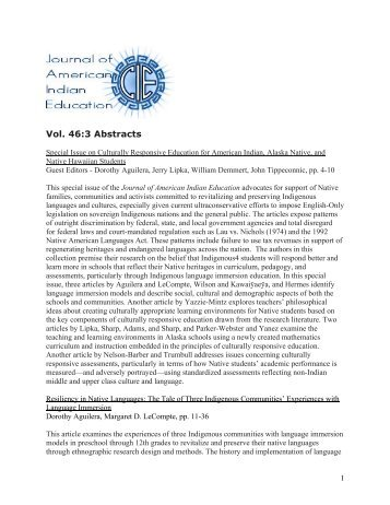 Vol. 46:3 Abstracts - Journal of American Indian Education