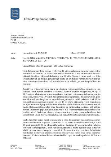 Lausunto Vaasan tiepiirin toiminta - Etelä-Pohjanmaan liitto