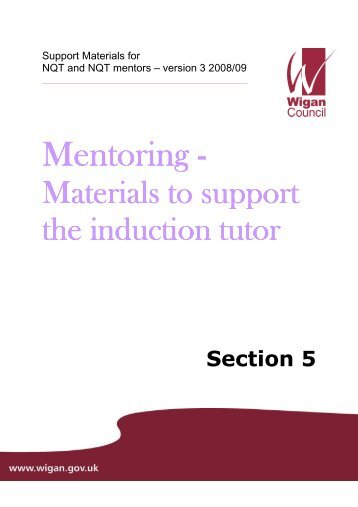 materials to support the induction tutor - Wigan Schools Online