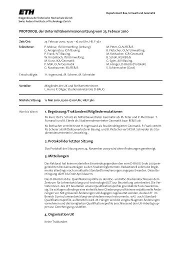 Sitzung 1/10 vom 23.02.10 - Departement Bau, Umwelt und Geomatik