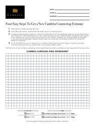 Cambria Estimate Worksheet