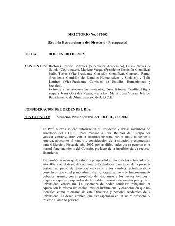Directorio del 10/01/2002 - CDCH-UCV
