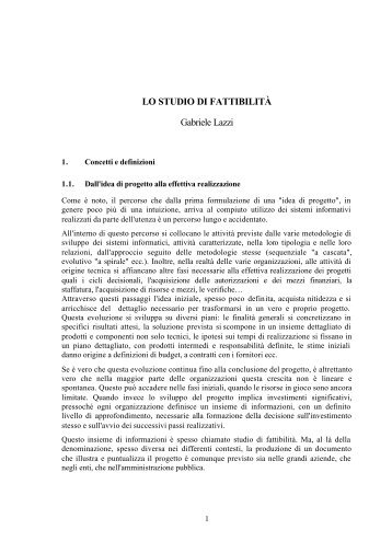 LO STUDIO DI FATTIBILITÀ Gabriele Lazzi
