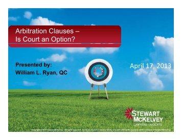 Arbitration Clauses - Stewart McKelvey
