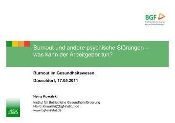 Burnout und andere psychische Störungen - Institut für Betriebliche ...
