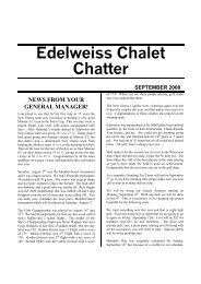 Edelweiss Chalet Chatter SEPTEMBER 2008 NEWS FROM YOUR ...