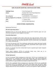 1Y2013 Satış Hacmi Açıklaması - Coca Cola İçecek