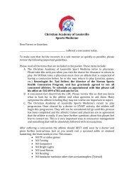 Parent Concussion Letter - Christian Academy School System