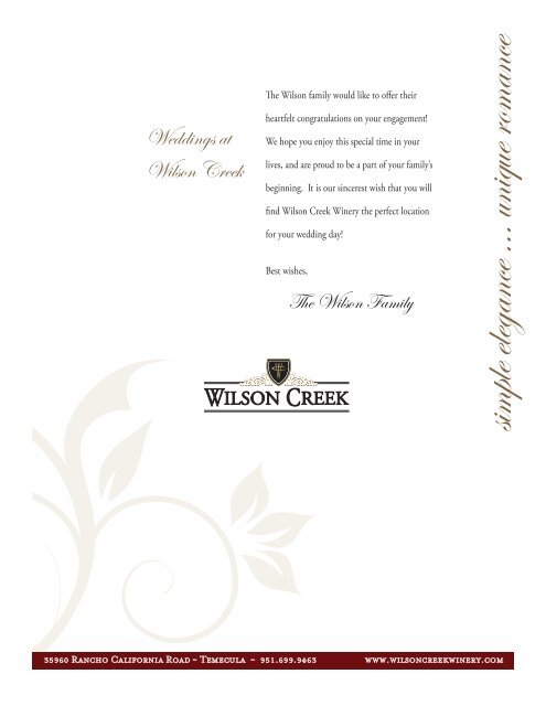 to download complete wedding packet - click here - Wilson Creek ...