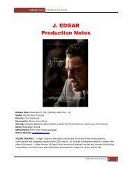 J. EDGAR Production Notes - Visual Hollywood