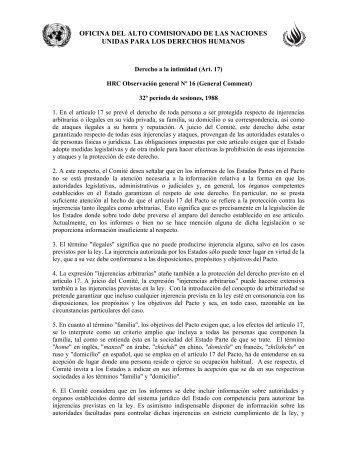 Derecho a la intimidad (Art. 17) HRC Observación general N ... - Acnur