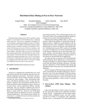 Distributed Data Mining in Peer-to-Peer Networks - Department of ...