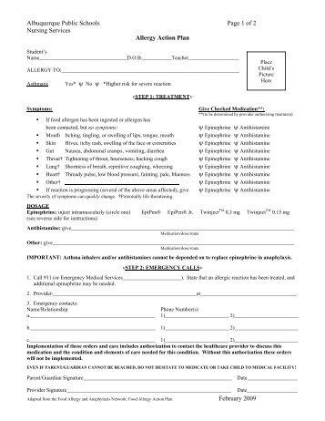 Anaphylaxis Action Plan Pdf  Eden Prairie Schools