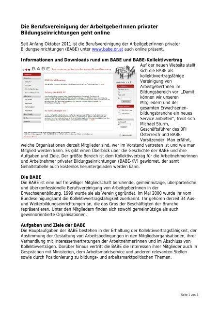 BABE präsentiert sich im Web - Bfi