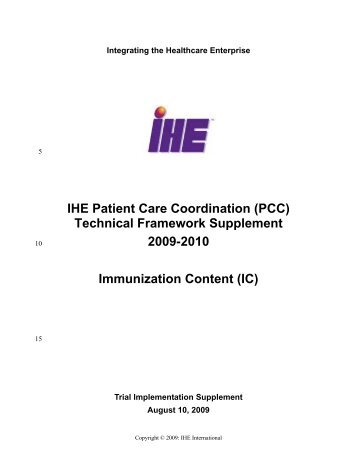 Immunization Content - IHE