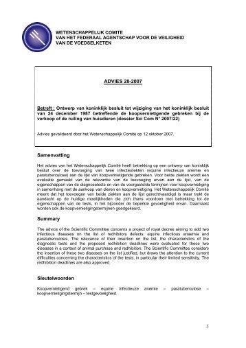 advies 28-2007 - FAVV