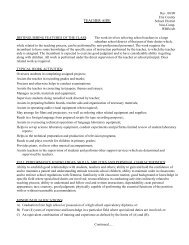 Teacher Aide Position Description - Hamburg Central School District
