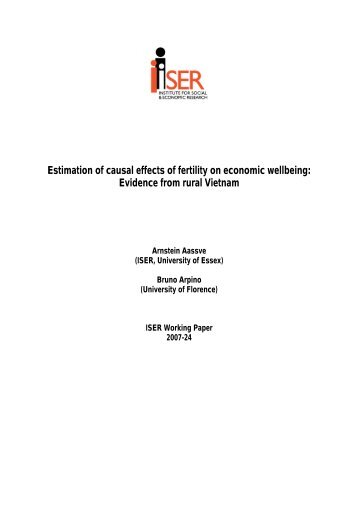 Estimation of causal effects of fertility on economic wellbeing - CORE
