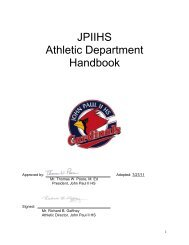 ATHLETIC HANDBOOK – [approved July 29, 2005] - John Paul II HS