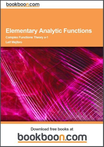 Elementary Analytic Functions - Complex Functions Theory a-1