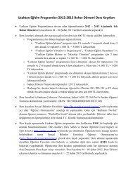 Uzaktan Eğitim Programları 2012-2013 Bahar Dönemi Ders Kayıtları