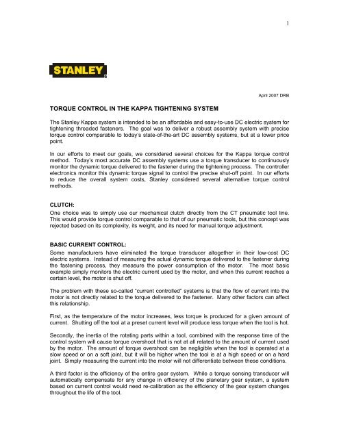 White Paper - Torque Control pdf - HTE Technologies