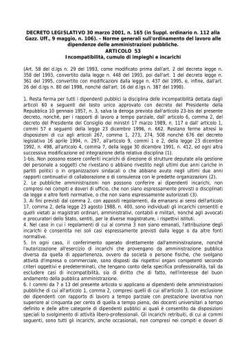 DECRETO LEGISLATIVO 30 marzo 2001, n. 165 (in Suppl. ordinario ...