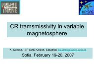 CR tramsmissivity in variable magnetosphere - BEO Centre of ...