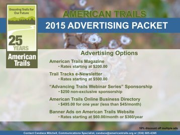 2009 American Trails Magazine Advertising Rates - Atfiles.org