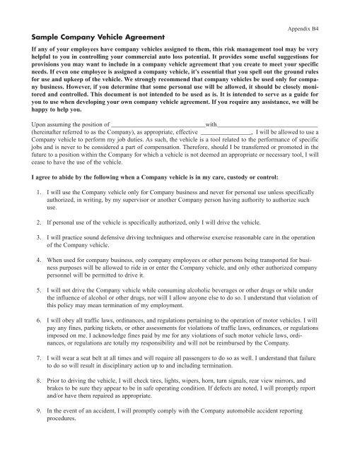 Sample Company Vehicle Agreement Fcci Insurance Group