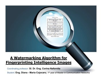 A Watermarking Algorithm for Fingerprinting Intelligence Images