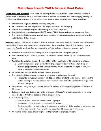 Metuchen Branch YMCA General Pool Rules - Ymcaofmewsa.org