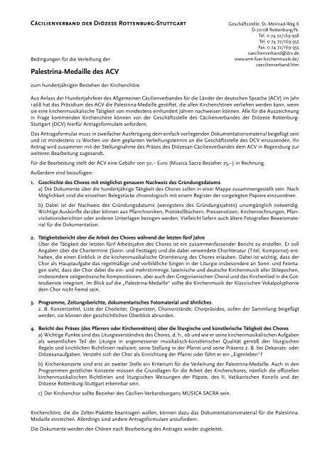 Palestrina-Medaille des ACV - Amt für Kirchenmusik