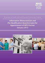 to view the Information Memorandum - NHS Ayrshire and Arran.